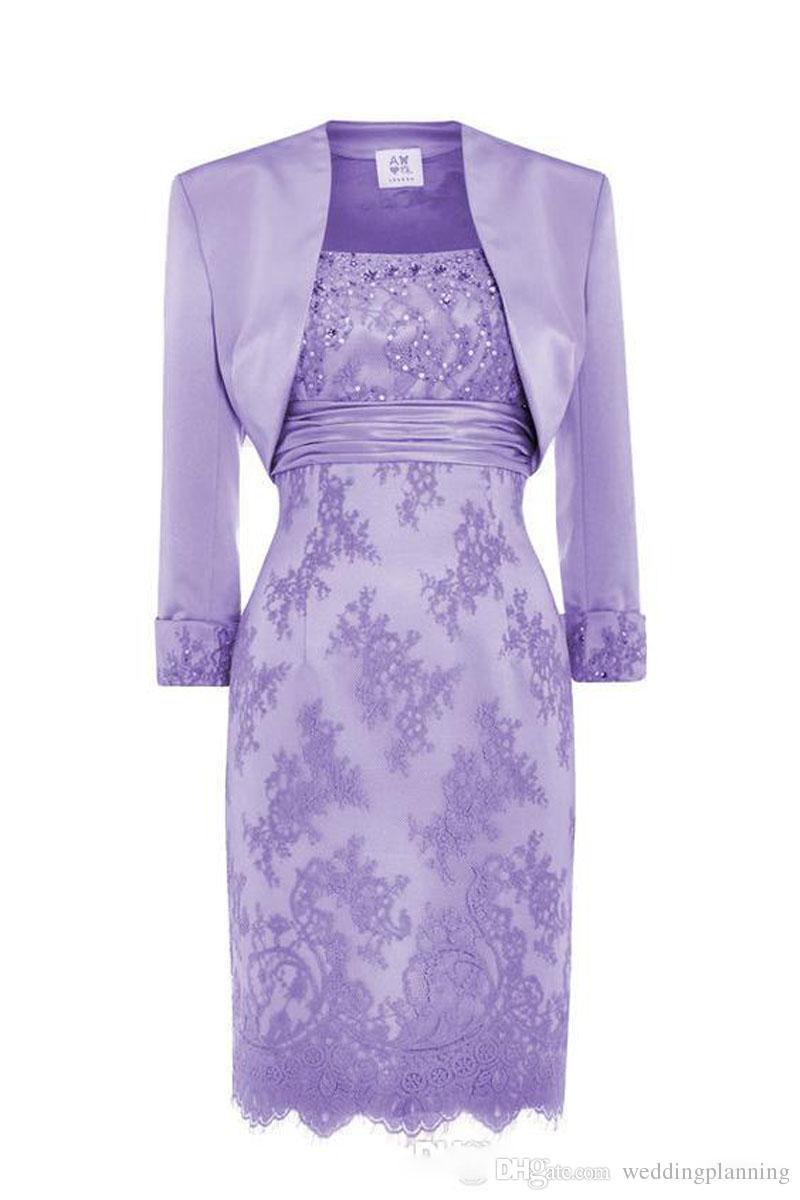 Custom Made Dantel Anne Gelin Elbise Scoop Sequins Boncuklu Saten Diz Boyu Anne Gelin Ceket Ile Elbiseler Kısa Elbiseler