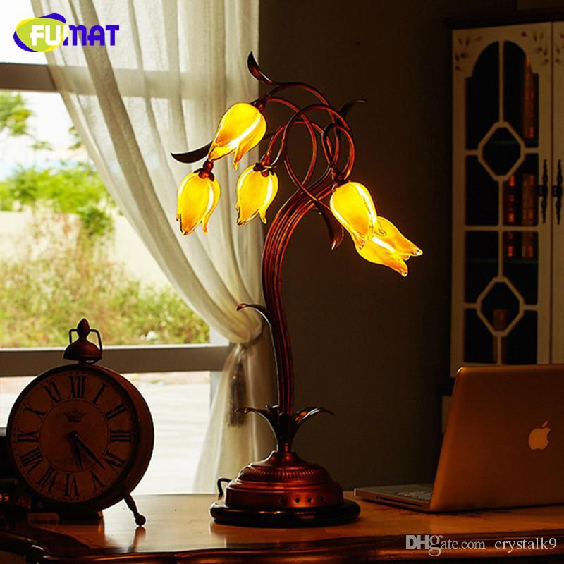 Abat Lampes Jour Salon En Verre Vertes Fleur De Table Fumat Feuilles Déco Chevet Art Lampe Led Jaune Européenne Pn0kO8w
