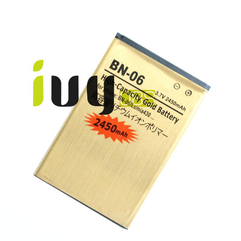 2450mAh BN-06 BN06 BN 06 Gold Replacement Battery + Universal USB Charger Wall for Microsoft Nokia Lumia 430 Lumia430