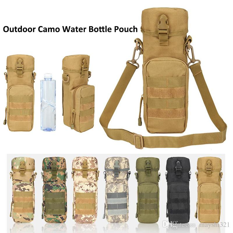 2017 Waterproof Camo Water Bottle Pouch Kettle Bag Military Webbing Belt Hang Saddlebag Pockets Tactical Sling Bag Water Bag for Camping Cyc