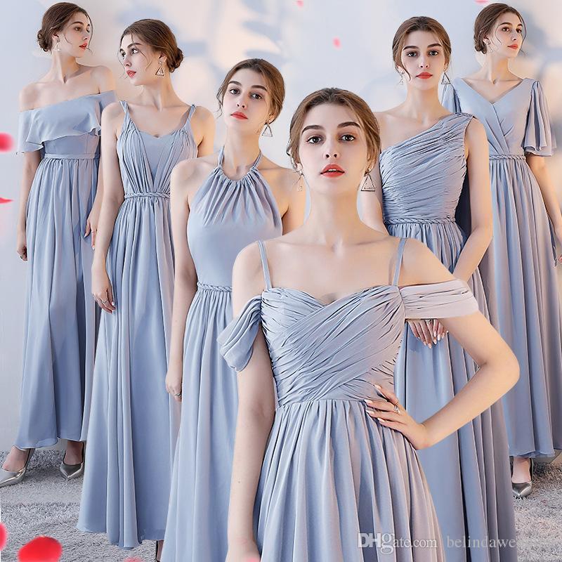 b13a52f5a Compre Vestidos De Dama De Honor Del País Vestidos De Damas De Honor Largos  Baratos Mezcla Escote Gasa Verano Gris Dama De Honor Formal Vestido De  Fiesta ...