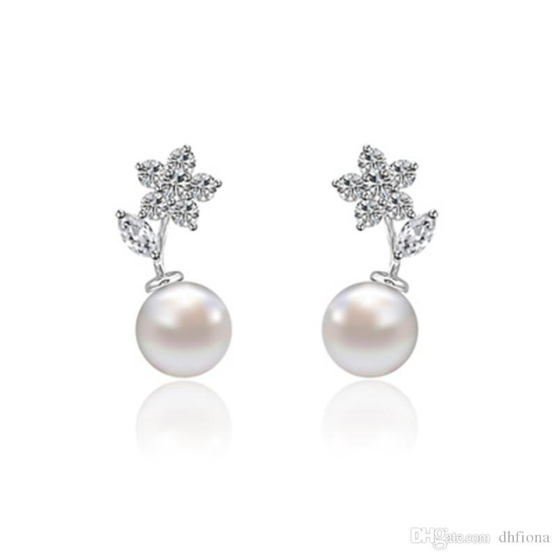 New Four Designs Freshwater Pearl Earrings For Women AAA Cubic Zirocnia  Wedding ER Sparkling Diamond Stud Diamond Stud Wedding Earring Pearl Earring  Online ... 23c90c944eaa