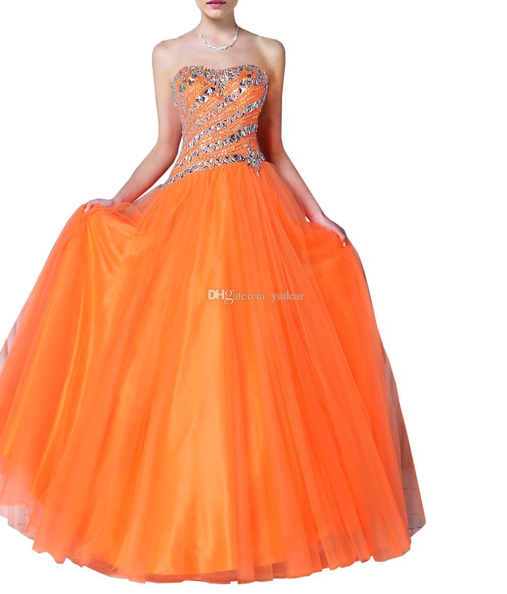 2021 لامع الراين فساتين Quinceanera حقيقية كصور حمالة الدانتيل يصل الحلو 15 الأميرة البرتقال حفلة موسيقية جواب السهرة