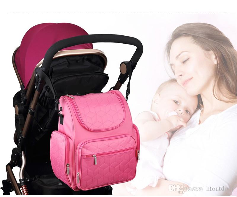 Dual Belt Mommy Baby Diaper Nappy Bag Mummy Backpack Bag Outdoor Travel Pack Organizer Women Handbag Tote with Changing Pad