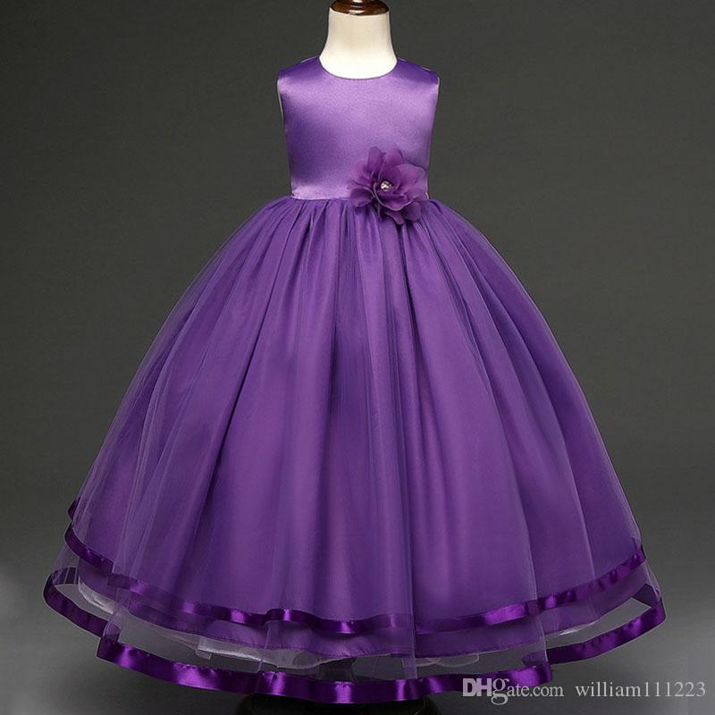 Compre 6 Tamaño 4 13 Años 2017 Niñas Vestido De Vestidos Princesa ...