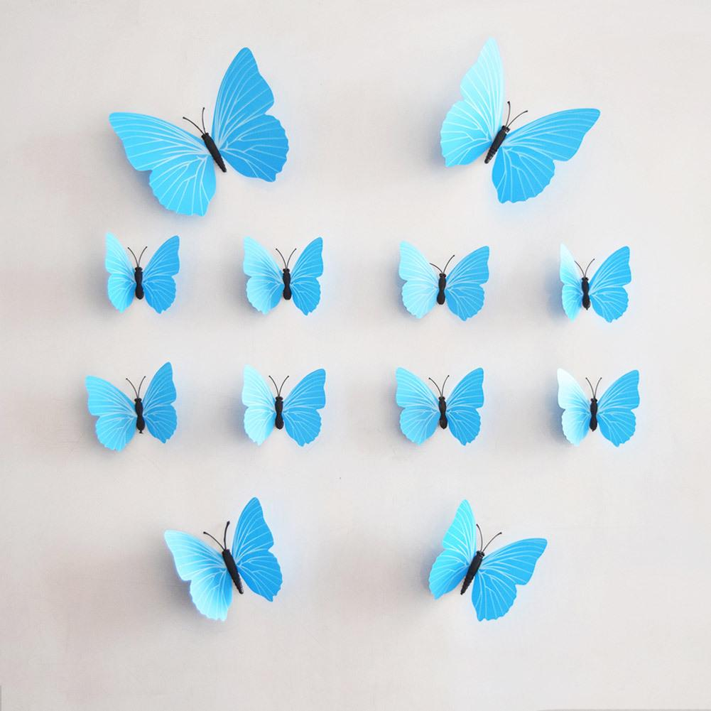 12/set multicolor butterfly 3d butterfly decoration wall stickers,pvc removable wall stickers butterfly in stock.