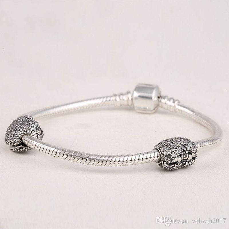 Heart Clip Charms Beads 925 Sterling Silver Pave Clear Crystal Stopper Lock Bead For Jewelry Making DIY Brand Logo Bracelets Accessories