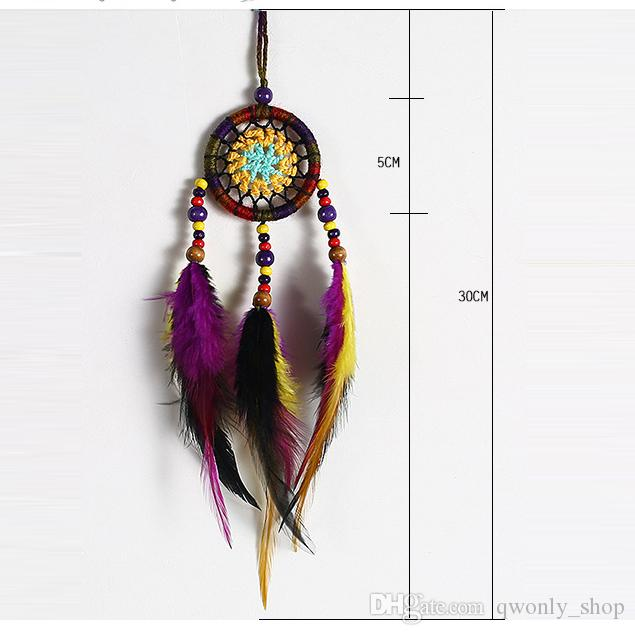 Colorful Handmade Crochet Flower Dream Catcher with Feathers Bead Mini Dreamcatcher Keychain Car Bag Hanging Decoration