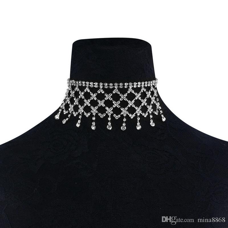 Womens Tassel Choker Necklace Multilayer Full CZ Diamond Crystal Choker Necklace Elegant Jewelry for Party Nightclub Gift Wholesale
