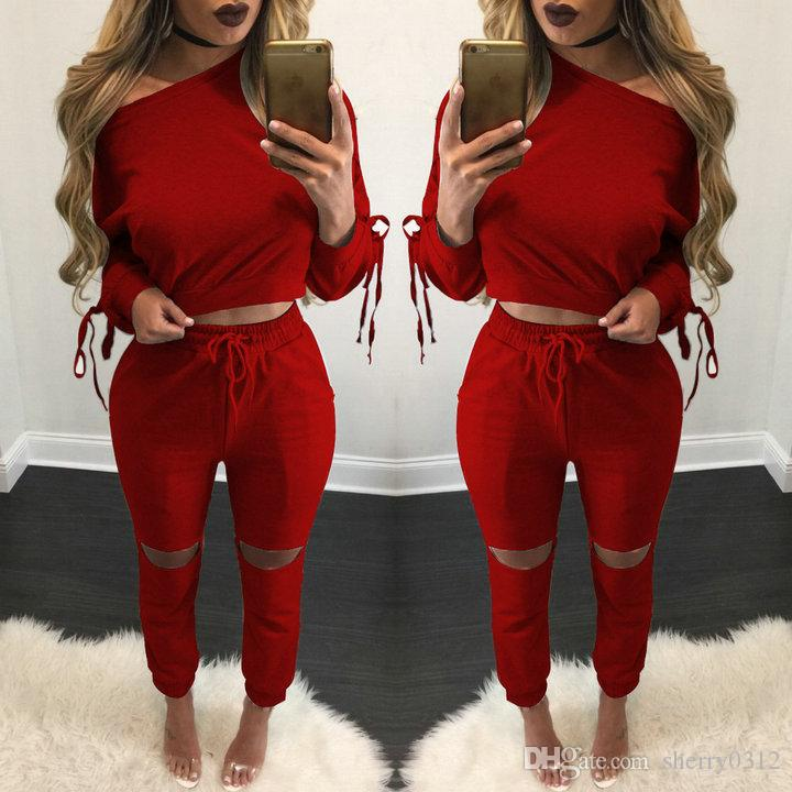 921b0d403881 2019 2017 New Arrival Womens Clothing Low Price Casual Wear Spring Style  Sweat Shirt Lace Up Tracksuit Women Long Pants Set Sports Cotton Suit 08  From ...