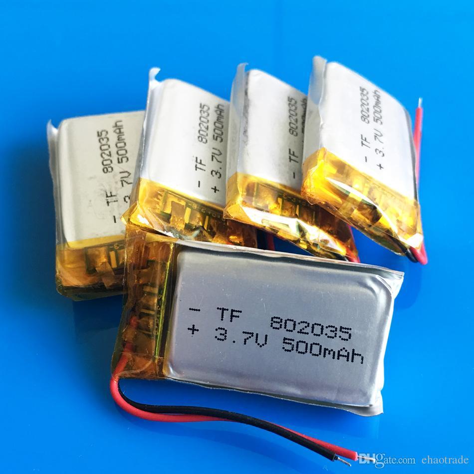 3.7 в 500 мАч 802035 литий-полимерный аккумулятор LiPo клетки li ion power для MP3 наушники DVD GPS мобильный телефон камеры psp игрушки