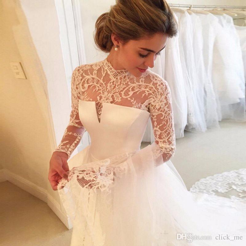 Preciosos vestidos de novia de manga larga con pura joya de cuello sexy trasero abierto vestidos nupciales satinados vintage vestido de boda de encaje superior barato