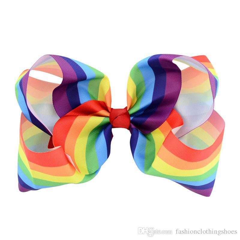 Girls 8 Inch Newest Large Rainbow Striped Bow Clip Grosgrain Ribbon Hair Bows With Clip For Kids Handmade Hair Accessory Hairpins