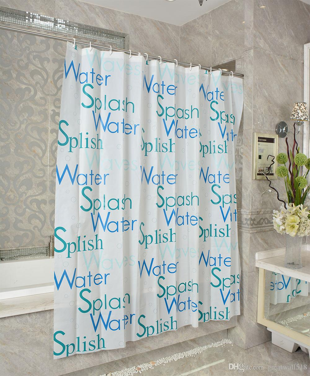 Waterproof Shower Curtain PEVA mildew Bathroom Curtains letter white Pattern with Hooks Free simple style wholesale LJ019