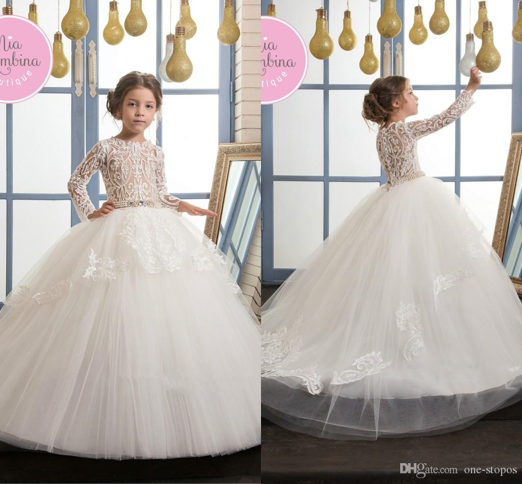2017 Newest Puffy Ball Gowns Little Girl Pageant Dresses White Tulle ...