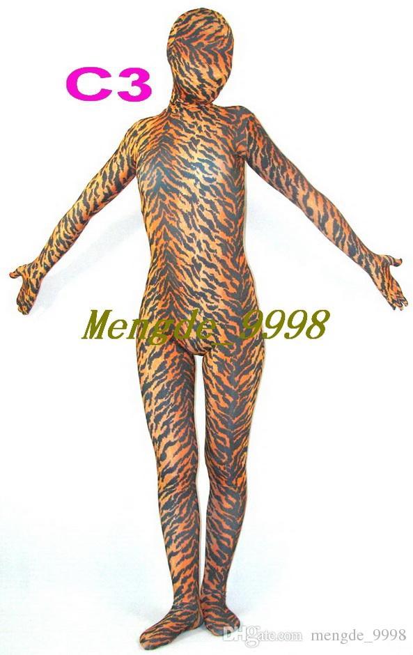 Unisex 7 Estilo Disfraces Multicolores Sexy Negro / Blanco Panel Manchado Perro Zebra Patrón Traje Sexy Tiger Leopard Patrón Trajes Traje M241