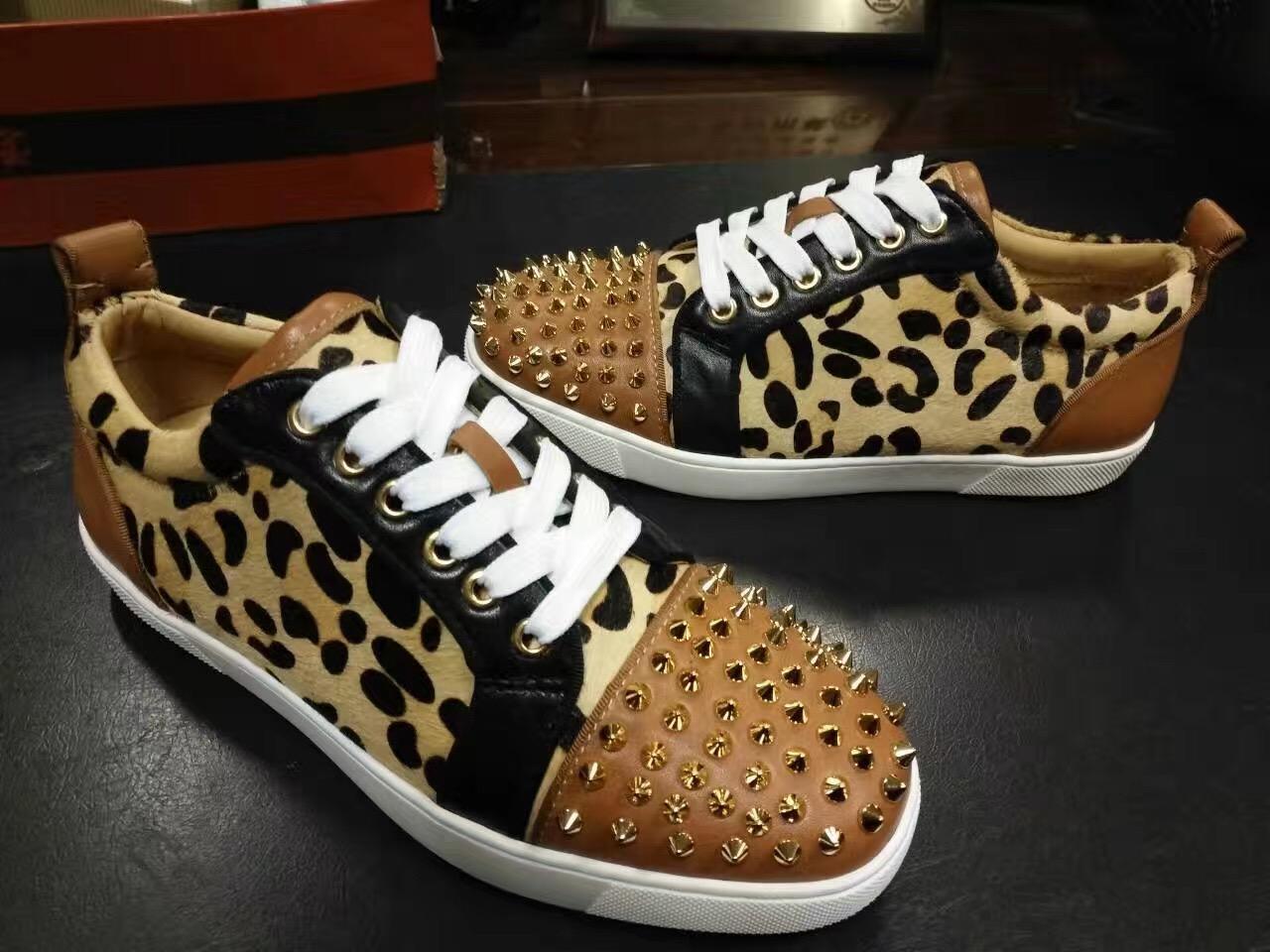 Hommes femmes pointu orteil unisexe léopard réel crin rouge bas bas baskets concepteur amoureux causal marque chaussures de planche à roulettes taille 35-46