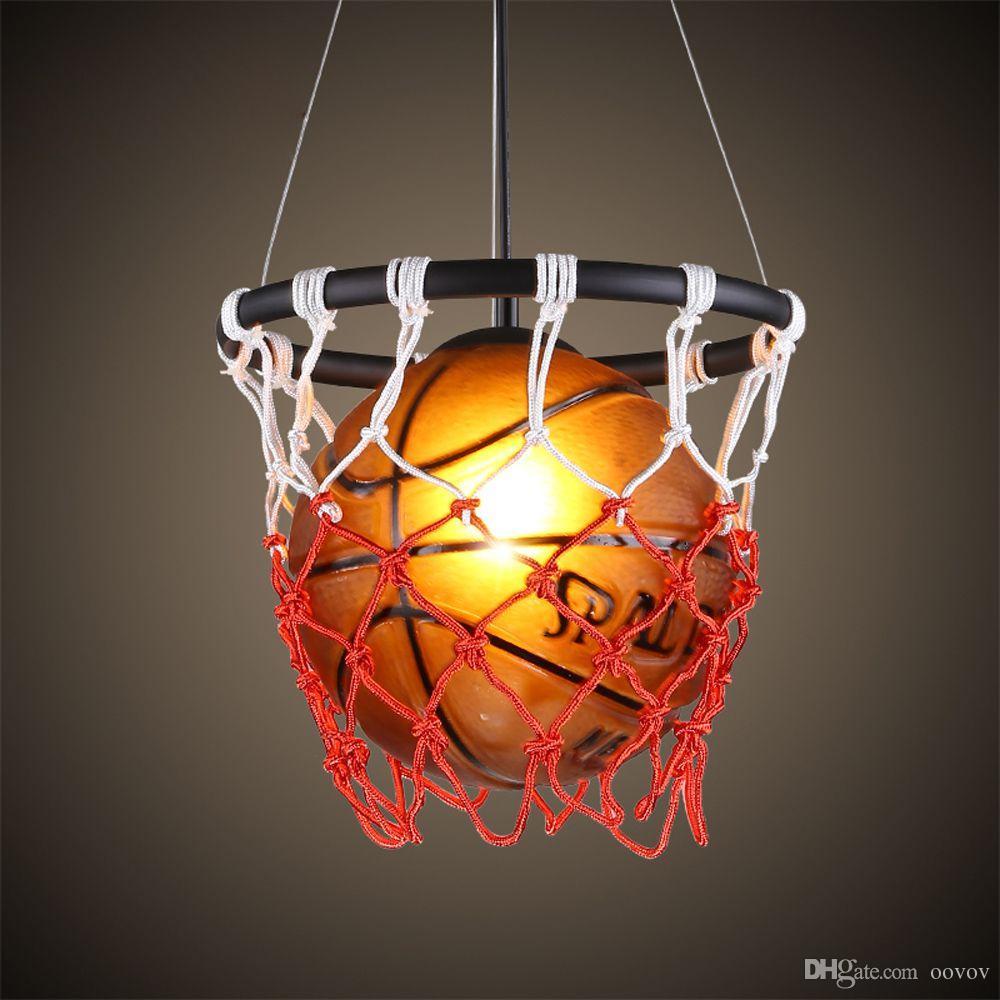 Boys Light Fixtures: Fashion Basketball Boys Room Pendent Lamp Vintage Child