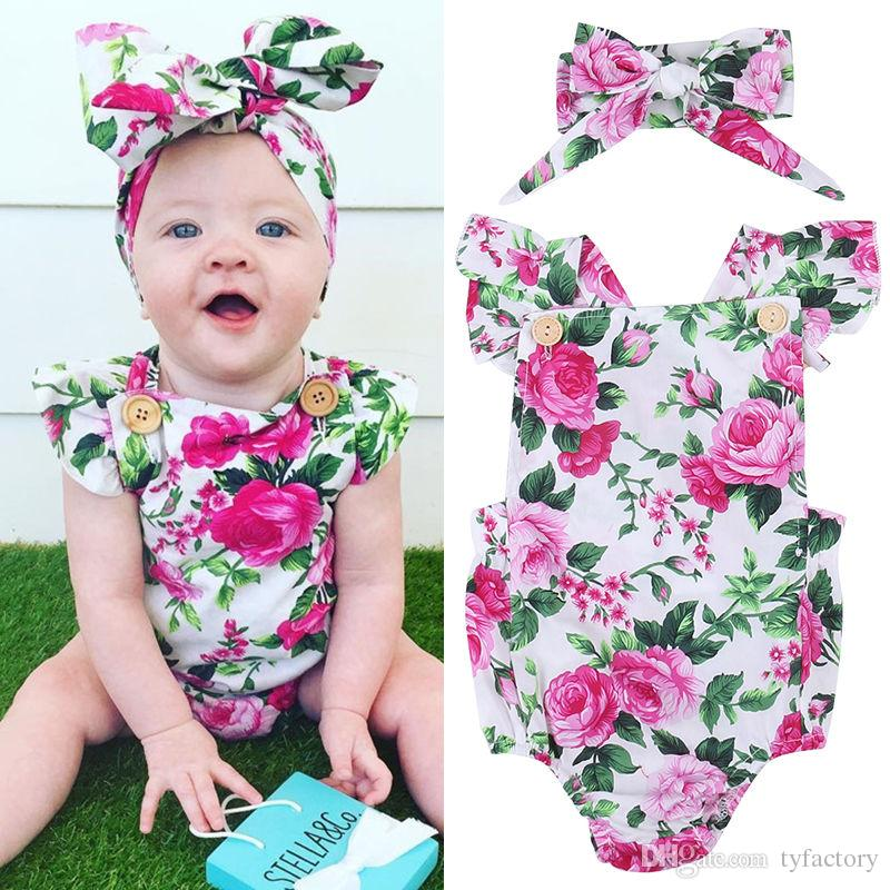 8c8be13a9052 2019 Flower Romper + Headband Set Pink Chinese Peony Floral Sunsuit ...