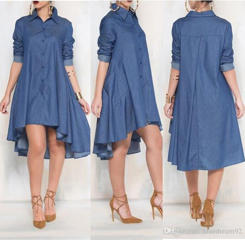 c7e1335b1f2 Fashion Plus Size Dresses Women Clothing Long Sleeved Denim Shirt Large Size  Ladies Irregular Dress Loose Pocket Casual Dresses For Womens Little Black  ...