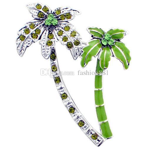 Commercio all'ingrosso verde albero di palma da cocco cristallo spilla pin, rosa sirena spilla, luce viola sirena spilla