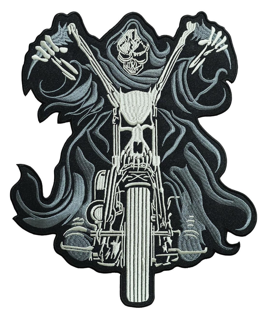 "Low Price 10"" x 8.5"" Skull Chopper Rider Large Embroidered Biker Back Patch Motocycle XL"