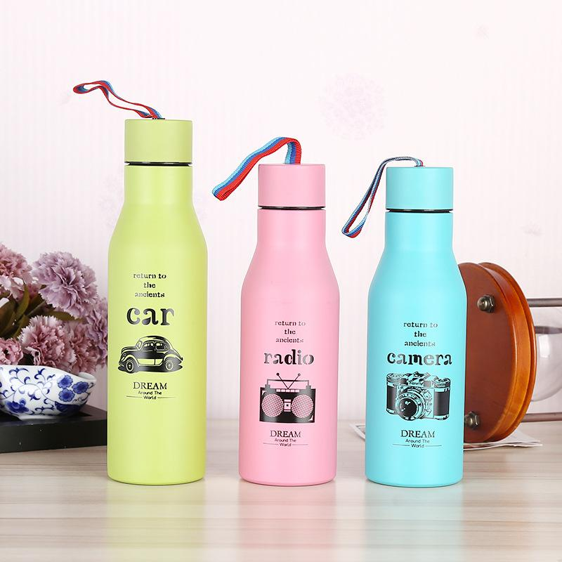 vacuum insulated water bottles stainless steel with lid rope cartoon