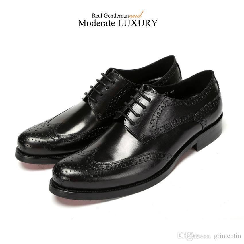 GRIMENTIN Hot sale wingtip carved classic mens oxford shoes luxury brand designer men dress shoes genuine leather business male formal shoes