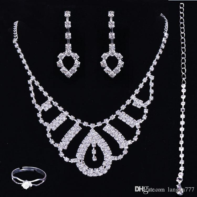 Bridal Luxury Cheap Jewelry Sets Prom Party Wedding Necklace Earrings Bracelet Ring Diamonds Rhinestone Accessories Homecoming Crowns