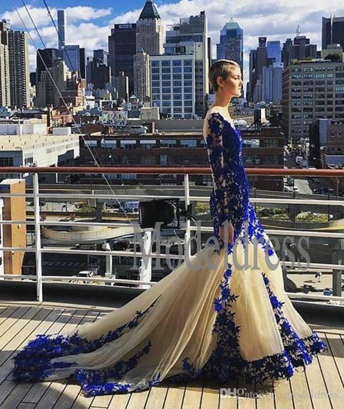 Champagne New Mermaid Prom Dresses 2019 Illusion Long Sleeve Royal Blue Appliques Sweep Train Formal Evening Party Gowns Vestidos De Fiesta