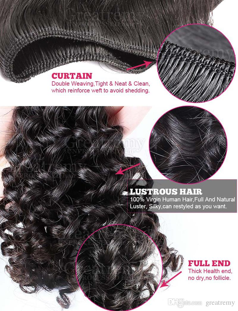 Braziliaanse diepe krullende haarbundels met sluiting 4x4 Braziliaanse menselijke haar inslag met sluiting 3 deel Virgin Hair Extension Natural Color /