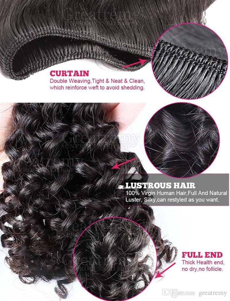 Nyårs försäljning !! Köp Virgin Brasilian Bundles Curly Hair Få Lace Frontlås 4 * 4 Gratis Del / Mellansdel / 3 Way
