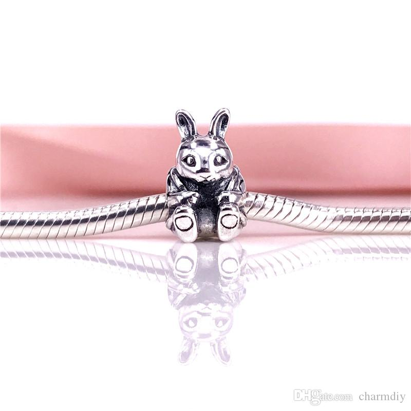 Authentic 925 Sterling Silver Easter Bunny European Charms Beads Fit Snake Chain Bracelet DIY Fashion Jewelry 791121