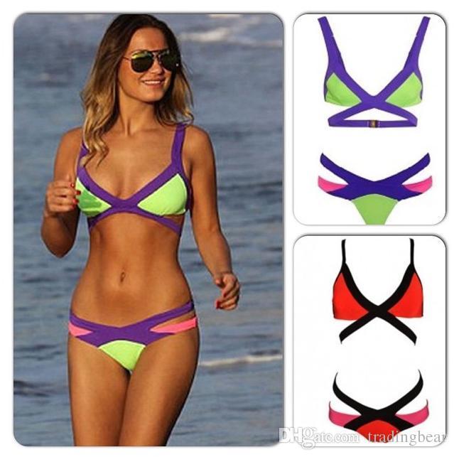 Contrast Color Women Bikini Sexy Swimsuit Fashion Summer Wear Size S to XL