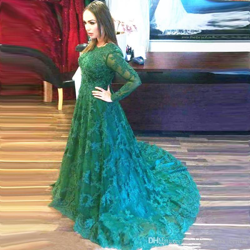 Arapça Uzun Abiye Vestidos Longos Para Formatura 2019 Mütevazı Yeşil Dantel Abiye Uzun Kollu