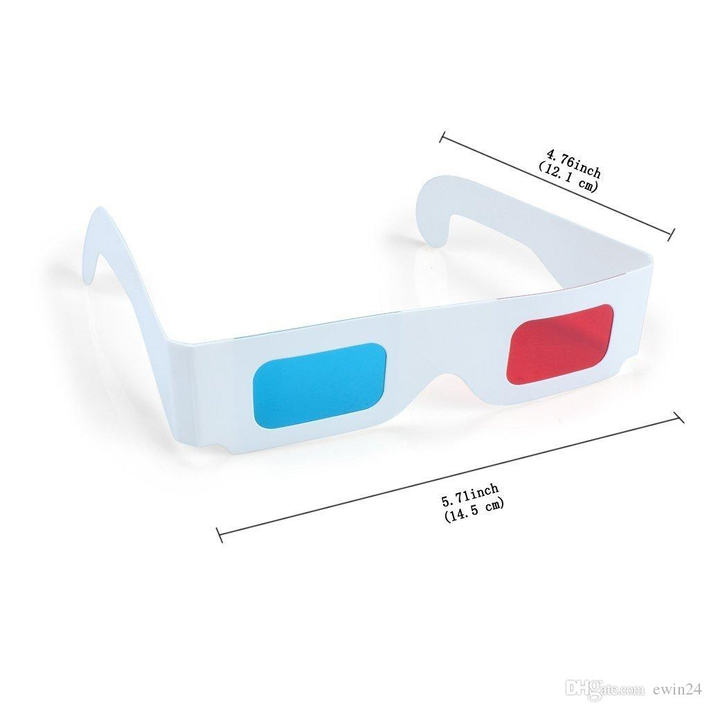 Yeni 3D Gözlük Kırmızı / Mavi Mavi Kağıt Kartı 3-D Anaglyph Gözlük Beyaz Kağıt goof popüler görünümü
