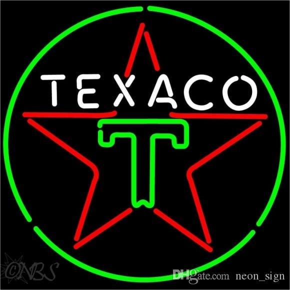Texaco Logo Neon Sign Custom Handmade Real Glass Tube Gas Oil Station  Company Store Advertisement Display Neon Signs 24 X24
