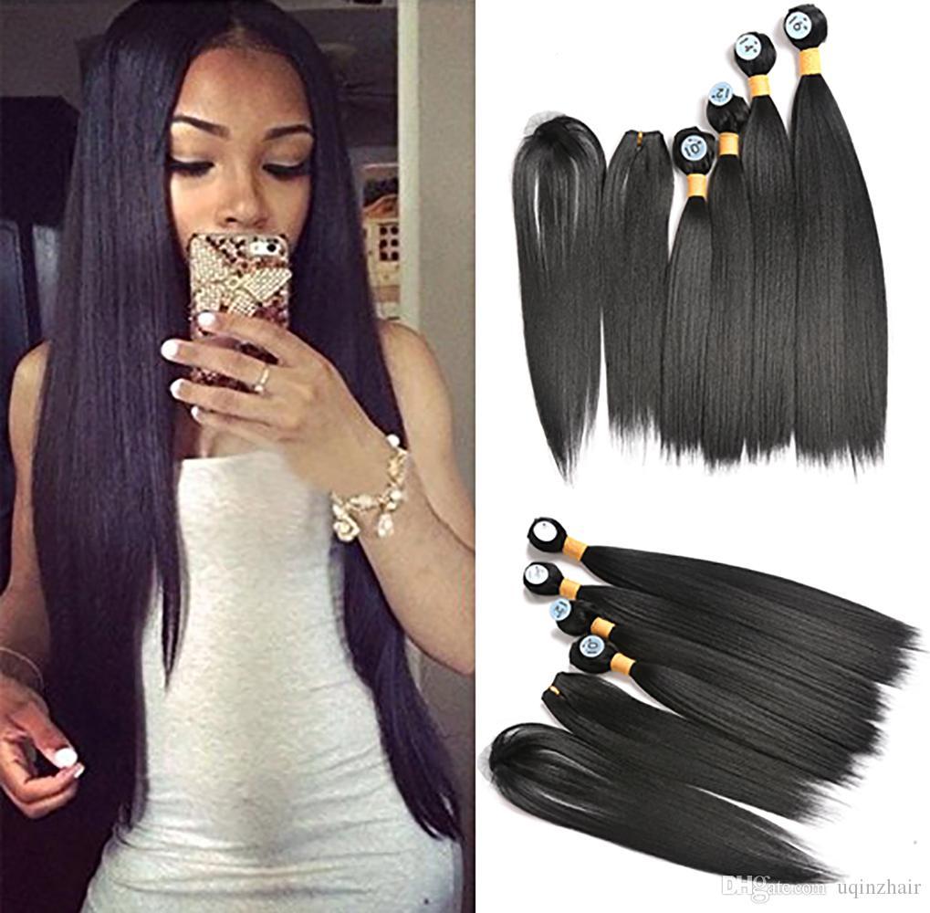 2018 Uqinz Brazilian Silky Straight 4 Bundles Weave Hair Extension
