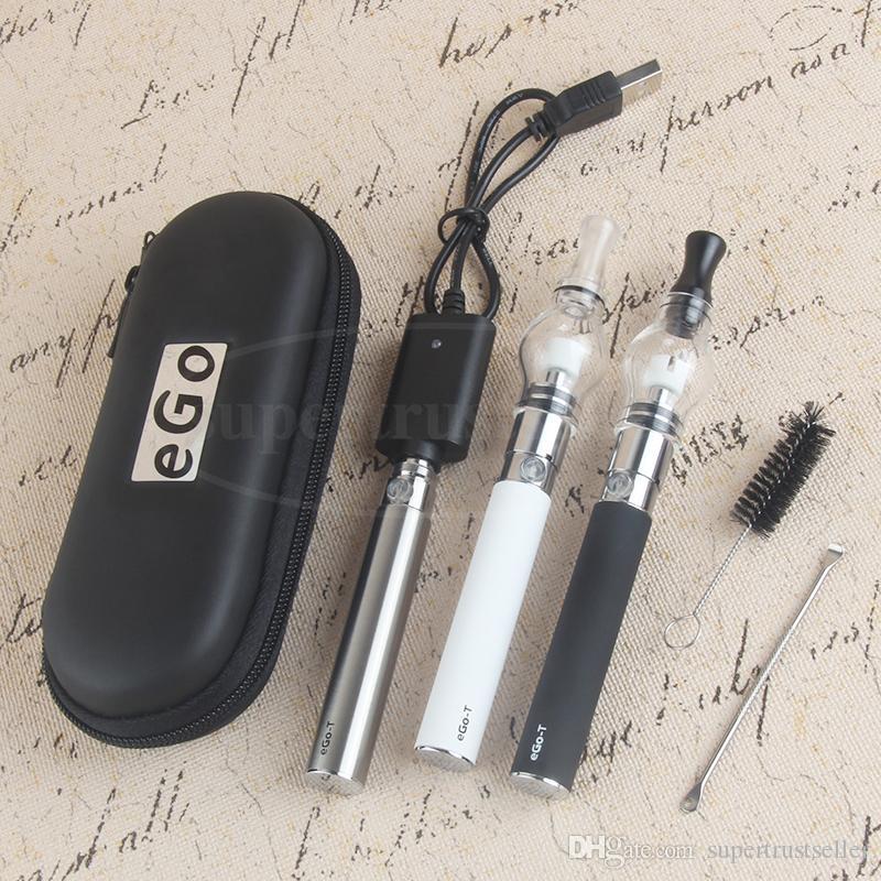 Vape Wax Pen EGO herbal Vaporizer Zipper Kit الشمع الجاف مع ملون غلوب البخاخة بخار السيجارة الإلكترونية مقابل Yocan Evolve Plus D