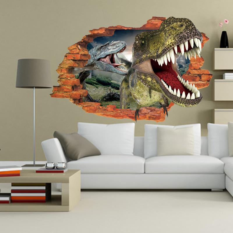 Hot Sale D Cartoon Dinosaur Wall Stickers Broken Wall Art Mural - Locations where sell wall decals