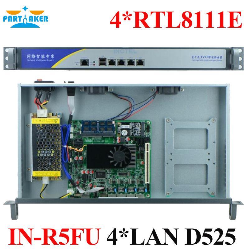 Partaker Firewall Service 1U Type Rack-mount Intel D525 4*RTL8111E Ports  Radius Mikrotik with 2G RAM 8G SSD