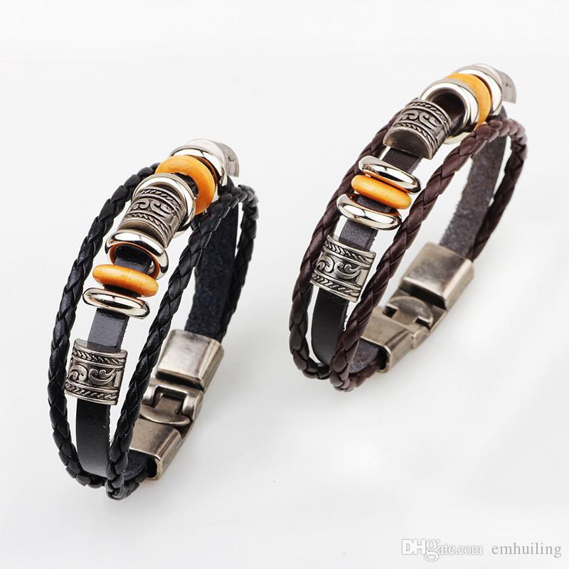 Women Girls Male Bracelet Punk Leather Beads Charms Bracelet Hip-hop Multilayer Braided Wrap Bangle Woven Bracelet For Men Casual Jewelry