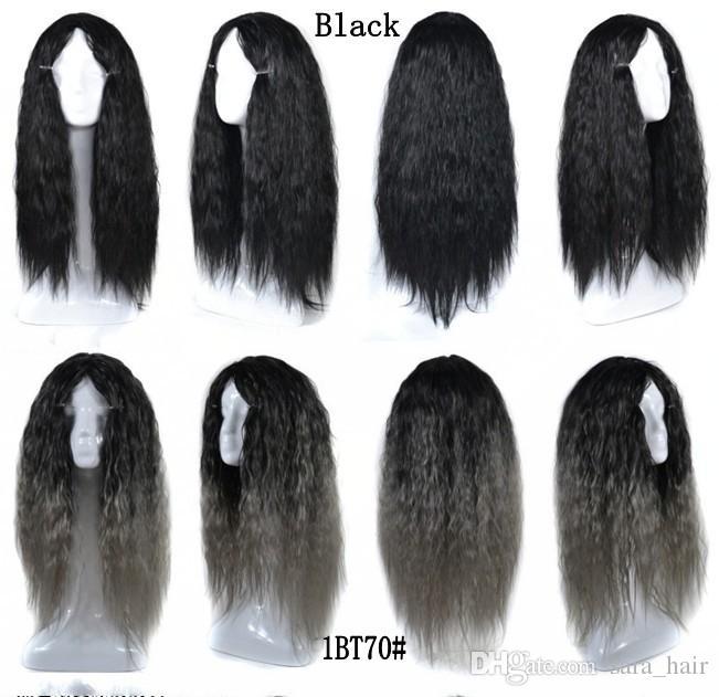 Sara Ladies Girls Kinky Cosplay ricci parrucche piene del merletto combo colorato anteriore parrucca 65 cm, 25