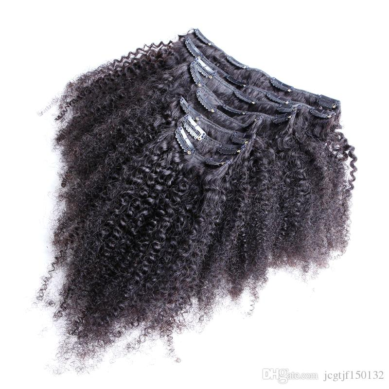 Hair extension clips for african american hair 100g Natural Color Afro kinky clip ins Clip in human hair extensions