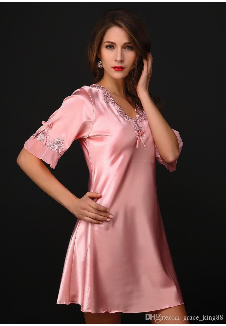 Высокое качество элегантный роскошный имитированный шелк ткань женская ночная рубашка женская сексуальная пижамы пижамы халат M L XL XXL