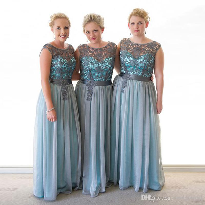 2017 Plus Size Bridesmaid Dress Gray Lace Maid Of Honor Wedding ...