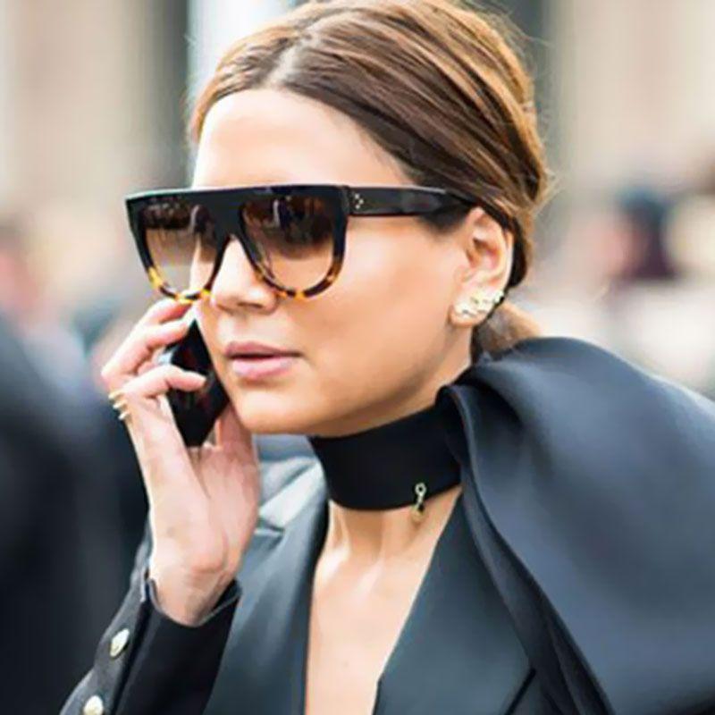 b01888f48 Compre Coodaysuft Sombra Marca Designer De Moda Celebridade Mulheres Óculos  De Sol Óculos De Sol Senhora Feminino Super Estrela Oversize Sombra Flat Top  De ...