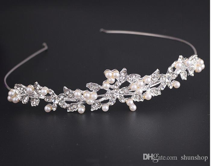Bridal & Wedding Party Jewelry Engagement & Wedding Diamante Crystal Faux Pearl Wedding Tiara Headband Crown Wreaths Elegant In Style