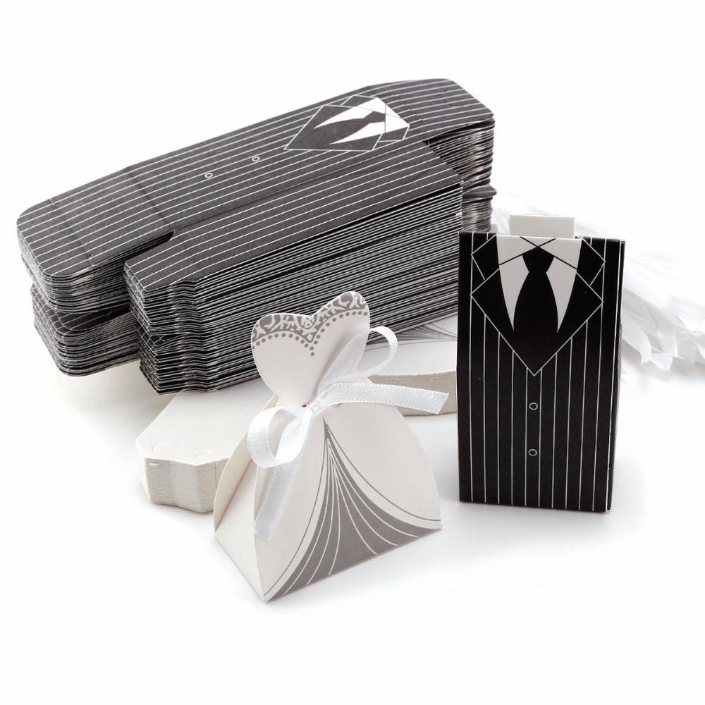 European Stripe Tuxedo White Dress Bride &Amp; Groom Wedding Favors ...