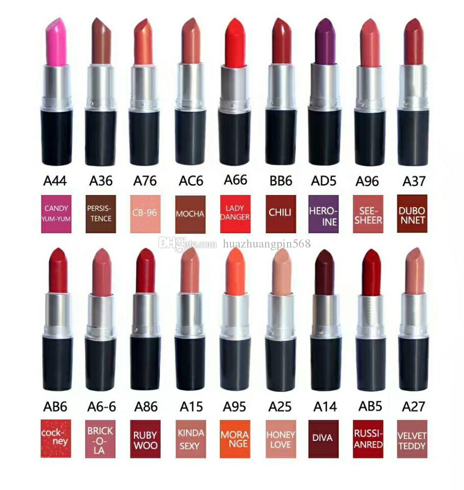 High quality brand M Makeup Ruby woo CHILI VELVET TEDDY Matte 3G Long-lasting Lipstick 18 color (10pcs/lot)